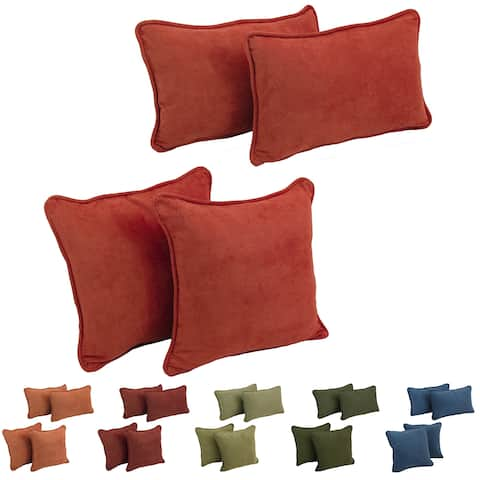 Blazing Needles Delaney Microsuede Throw Pillow Set (Set of 4)