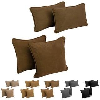 Blazing Needles Delaney Microsuede Throw Pillow Set (Set of 4)