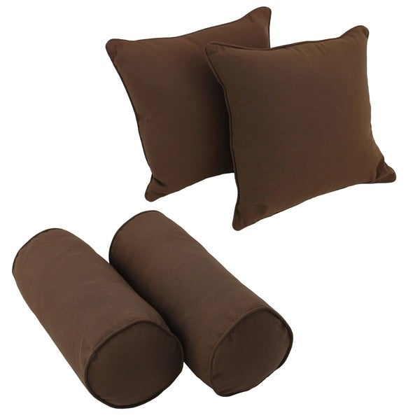 Blazing Needles Solid Twill Throw Pillow Set (Set of 4)