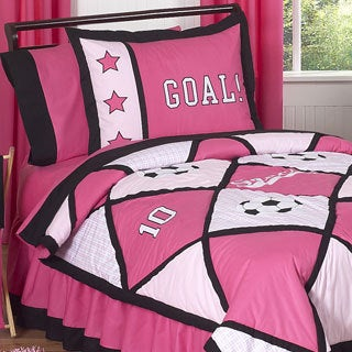 Sweet Jojo Designs Girls 'Pink Soccer' 3-piece Full/ Queen Comforter Set