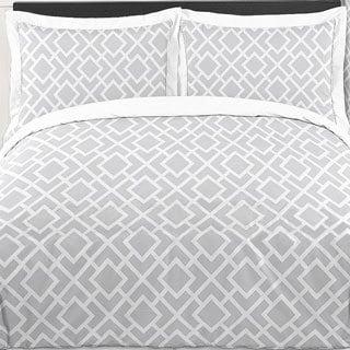 Sweet Jojo Designs 'Grey White Diamond' 3-piece Full/Queen Comforter Set