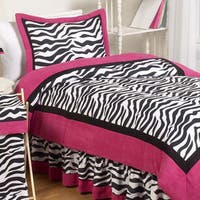 Sweet Jojo Designs Girls 'Zebra' 4-piece Twin Comforter Set
