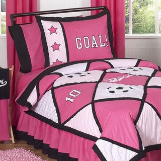 Sweet Jojo Designs Girls 'Pink Soccer' Twin 4-piece Comforter Set