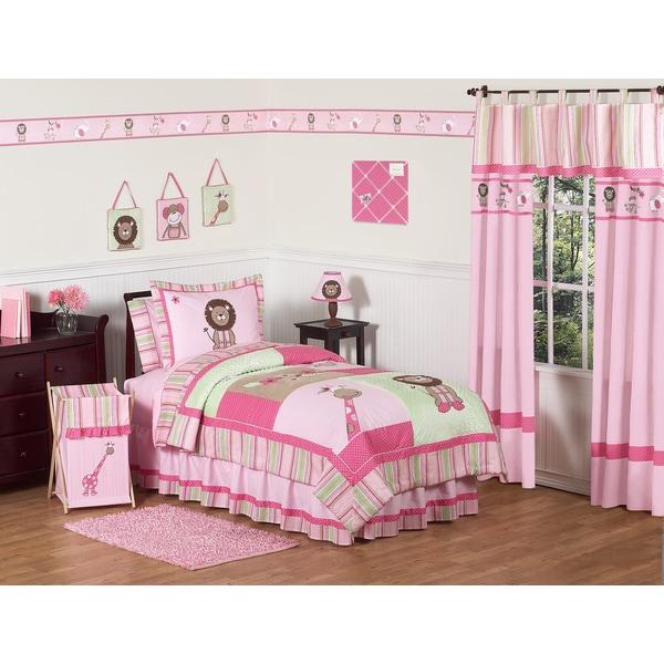 Sweet Jojo Designs Girls 'Jungle' Twin 4-piece Comforter Set