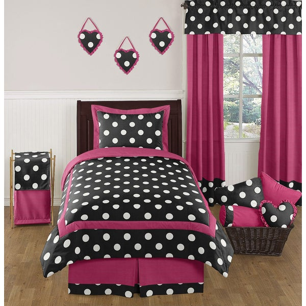 Sweet Jojo Designs Girls 'Polka Dot' 4-piece Twin Comforter Set