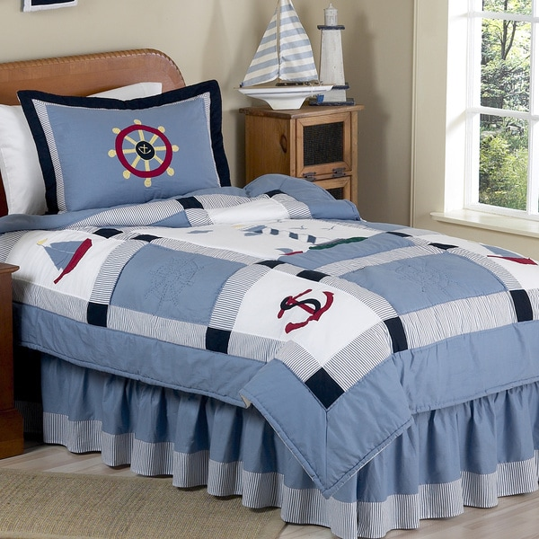 sweet jojo designs boys 4piece nautical twin comforter set