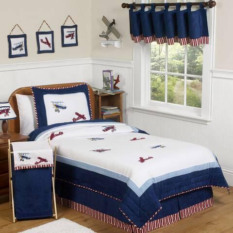 Sweet Jojo Designs Boys Vintage Airplane Twin 4-piece Comforter Set
