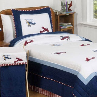 Sweet Jojo Designs Boys Vintage Airplane Twin 4-piece Comforter Set