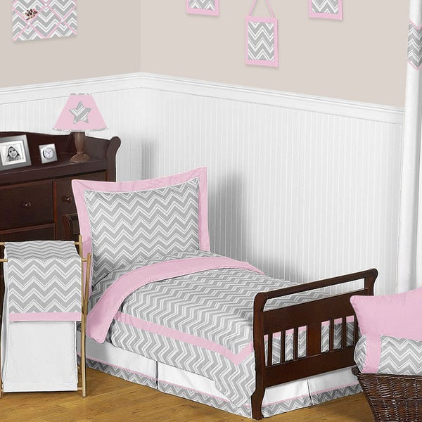 Sweet Jojo Designs Girl 5-piece Chevron Zig Zag Toddler Comforter Set