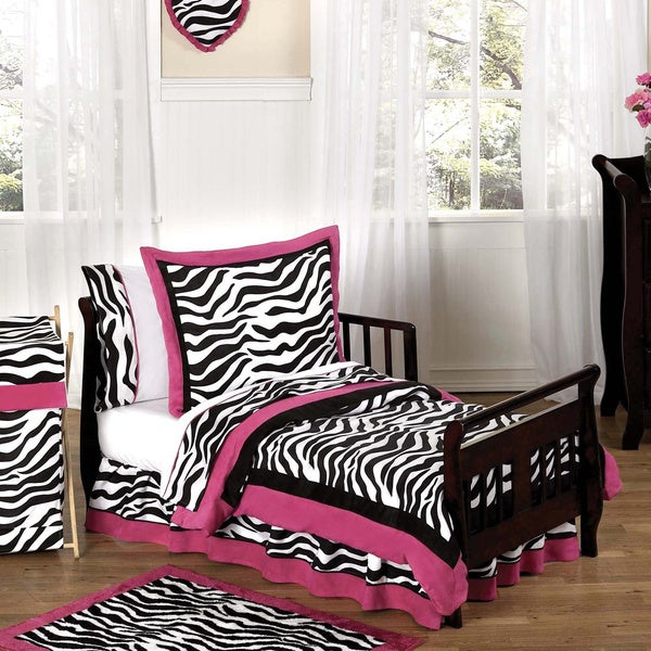 Sweet Jojo Designs Girls 5-piece Hot Pink Zebra Toddler Comforter Set