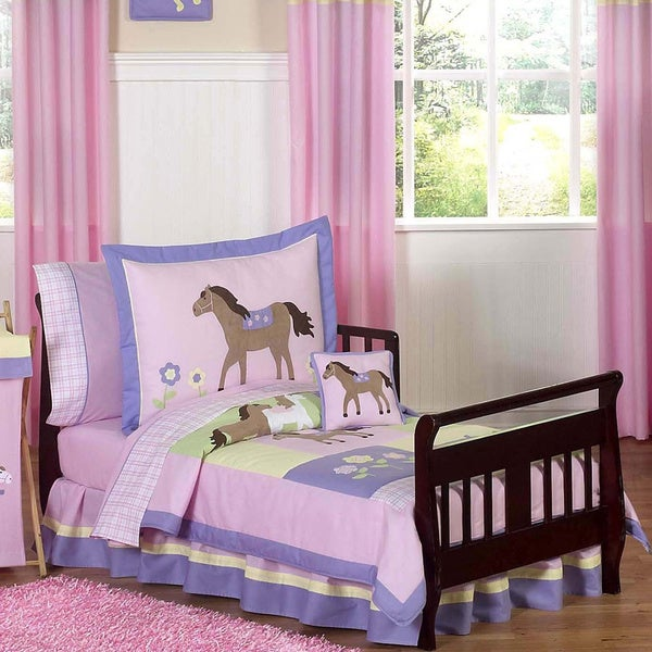 Sweet Jojo Designs Girl Pony Horse Toddler 5-piece Comforter Set