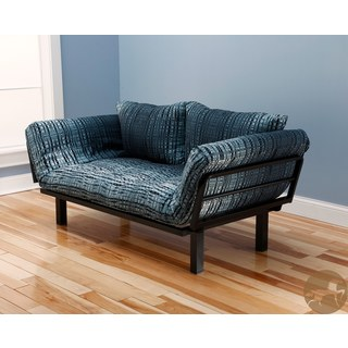 Christopher Knight Home Multi-Flex Black Metal Daybed/Lounger with Blue/ Black Mattress and Pilllows
