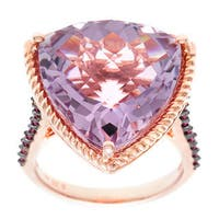 Sterling Silver Rose de France and Pink Sapphire Ring