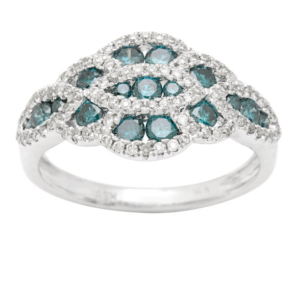 14k White Gold 1ct TDW Blue Diamond Ring (H-I, SI1-SI2)