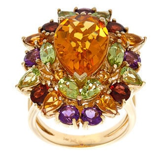 14k Yellow Gold Round-cut Citrine and Multi-gemstone Ring