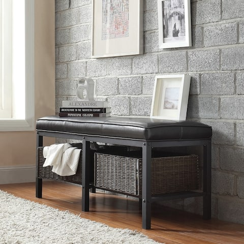 Myra II Black Brown Faux Leather Upholstered Modern Rustic Bench by iNSPIRE Q Classic