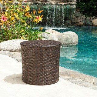 Keaton Wicker Barrel Side Table by Christopher Knight Home