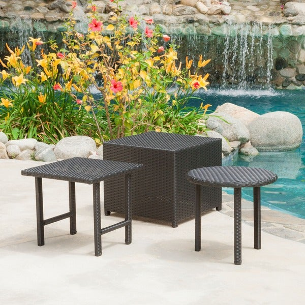 Danica Black Wicker 3-piece Table Set by Christopher Knight Home