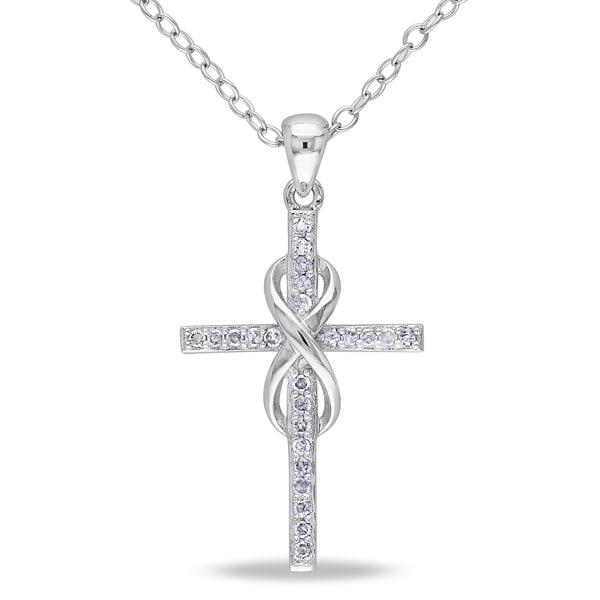 Miadora Sterling Silver 1/10ct TDW Diamond Infinity-cross Necklace