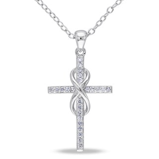 Miadora Sterling Silver 1/10ct TDW Diamond Infinity-cross Necklace