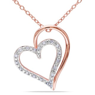 Miadora Rose Plated Sterling Silver Diamond Heart Necklace