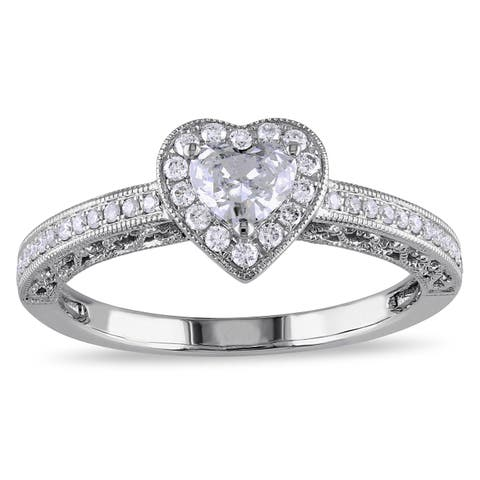Miadora Signature Collection 14k White Gold 1/2ct TDW Diamond Heart Ring