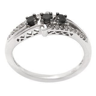 10k White Gold 1/3ct TDW Black and White Diamond Ring