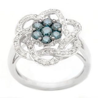 14k White Gold 7/8ct TDW Blue and White Diamond Flower Ring (H-I, SI1-SI2)