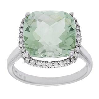 14k White Gold 1/4ct TDW White Diamond Green Amethyst Ring (H-I, SI1-SI2)