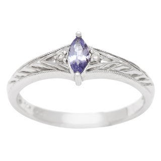 14k White Gold Tanzanite and Diamond Accent Ring