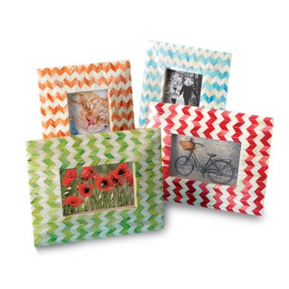 Chevron Bone 4x6-inch 4-piece Photo Frame Set
