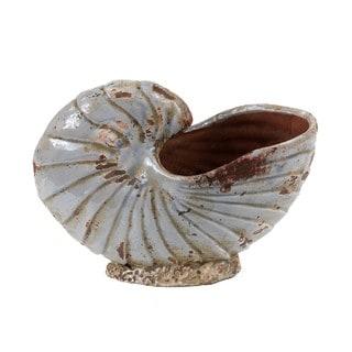 Large Blue Ceramic Shell Vase