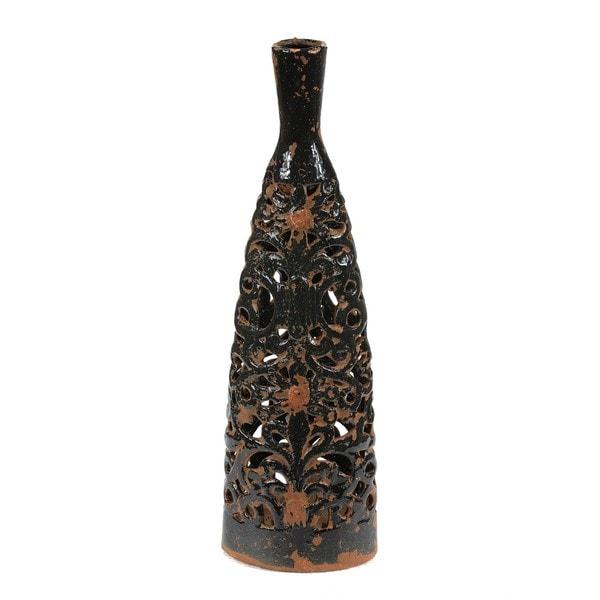 Shop Large Black Ceramic Cutout Vase On Sale Free Shipping Today