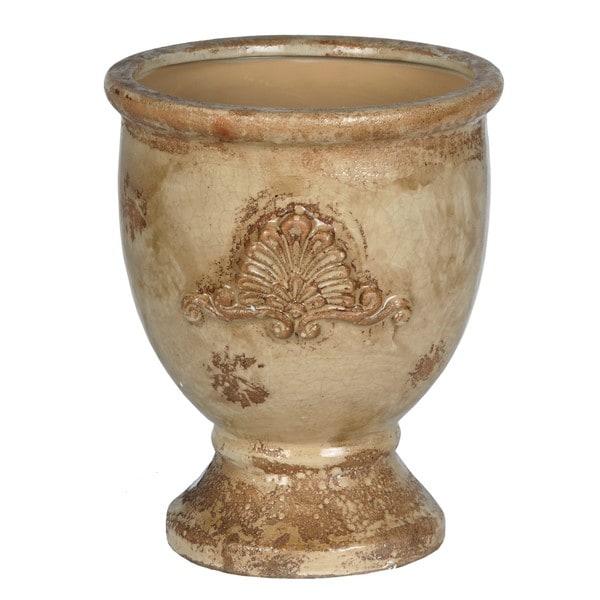 Large Round Antique Yellow Ceramic Pot