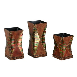 Brown 3-piece Metal Vase Set