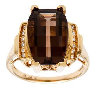 14k Yellow Gold Smokey Quartz and Diamond Accent Ring