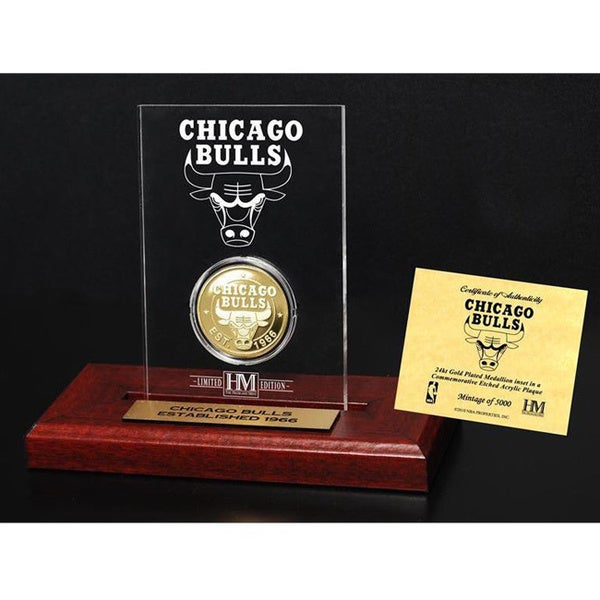 Chicago Bulls 24k Gold Coin Etched Acrylic