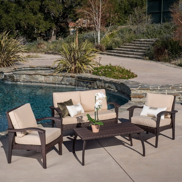 Honolulu Outdoor 4 Piece Brown Wicker Seating Set And Cushions By  Christopher Knight Home