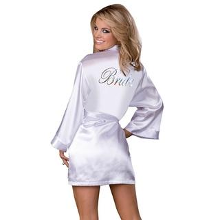 Dream Girl Women's 'Bride' White Robe and Babydoll Set