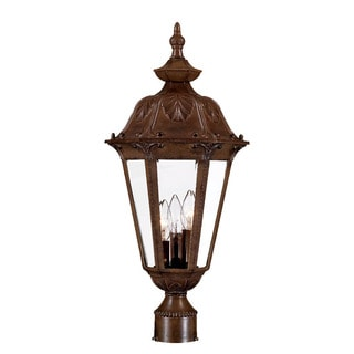 Dorchester Collection 3-Light Post Mount Outdoor Burled Walnut Light Fixture