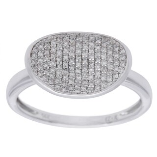 14k White Gold 1/5ct TDW Pave Oval Diamond Ring (H-I, SI1-SI2)