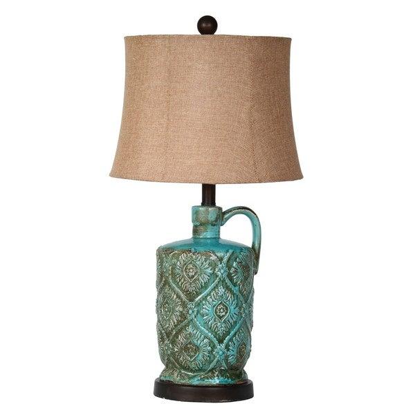 Medium Ceramic Jar 1-light Green Table Lamp