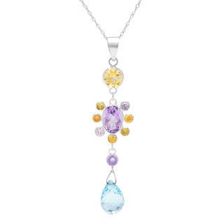 14k White Gold Multi-gemstone Necklace