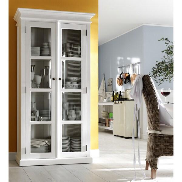 Distressed White 4-shelf Vitrine