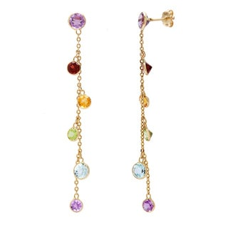 14k Yellow Gold Multi-colored Gemstone Earrings