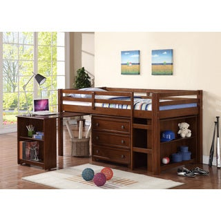 donco kids kids low loft twin bed with roll out desk free shipping today. Black Bedroom Furniture Sets. Home Design Ideas