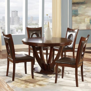 Elegant Miraval 5 Piece Cherry Brown Round Dining Set By INSPIRE Q Classic