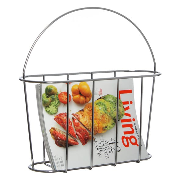 Chrome Magazine Rack with Handle