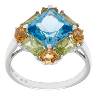 14k White Gold Blue Topaz Star and Semi Precious Stones Ring