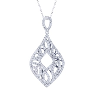 Blue Box Jewels Rhodium Plated Sterling Silver Cubic Zirconia Vintage Petals Necklace